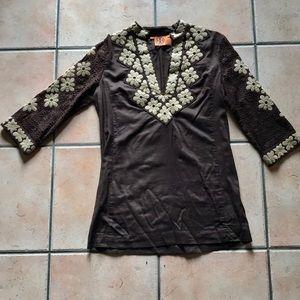 Tory Burch Chocolate embroidered tunic sz. 6